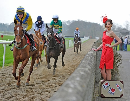 'Fashion On The Field: Coast is announced as new sponsor of Best Dressed Lady Competition at Punchestown Racing Festival 2012, with top prize for Most Stylish Lady and a friend a Jet-Setting International Shopping Spree at 3 flagship Coast locations - New York, Madrid and London. Model Aoife Cogan wears Racing Style from Coast Spring Summer 12 Collection.' - No Reproduction Fee © Michael Chester (087 8072295)